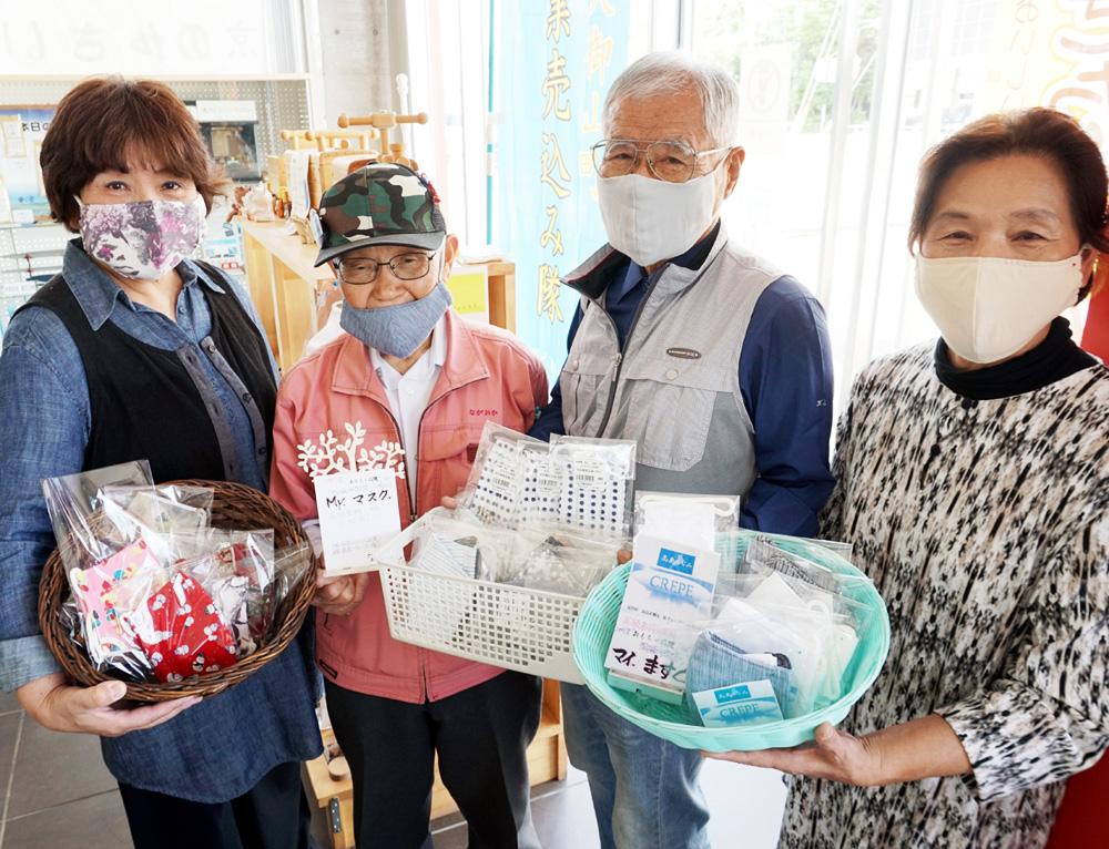 収束願い、指編み「マイますく」/久御山町内のグループ