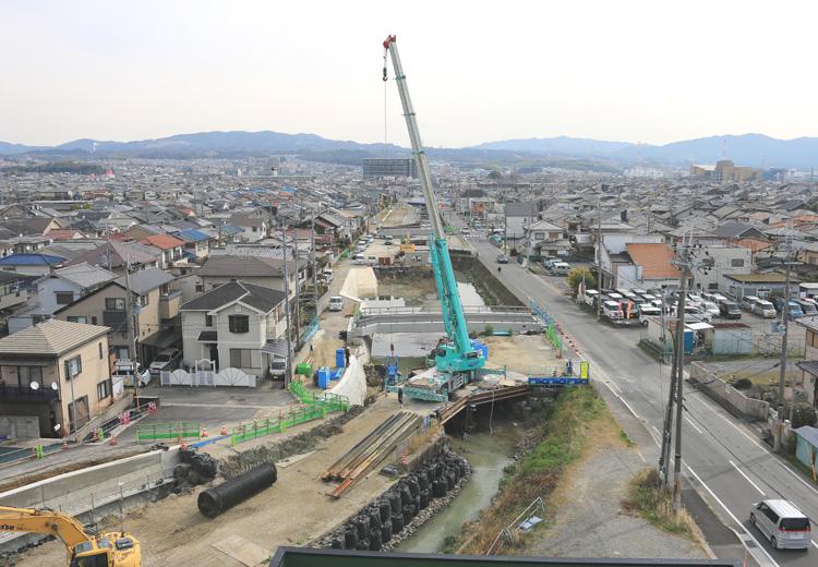 古川改修、工事急ピッチ/城陽市寺田